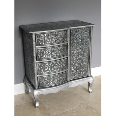 Blackened silver embossed small sideboard