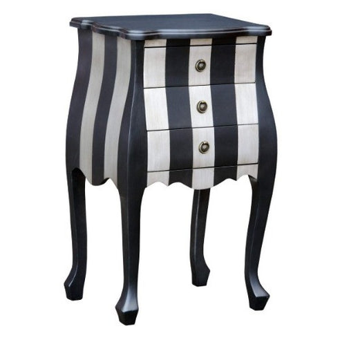 Silver and black french bombe bedside table - large
