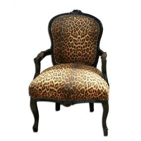 Faux leopard black frame french arm chair