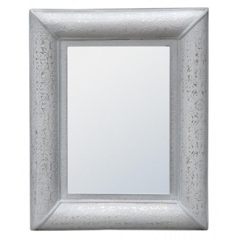 Frosted silver embossed metal mirror