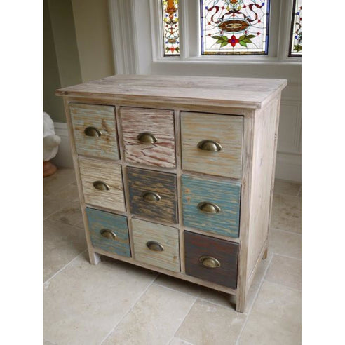 Loft style wooden 9 drawer chest - Beach House