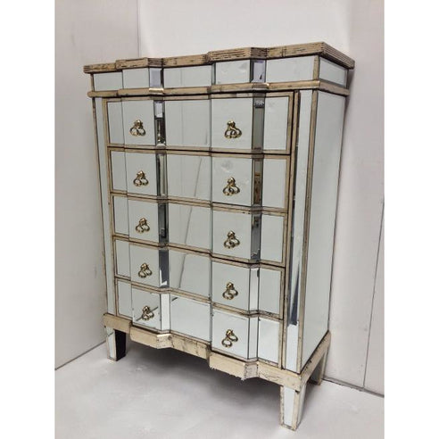 Venetian silver glass tallboy chest