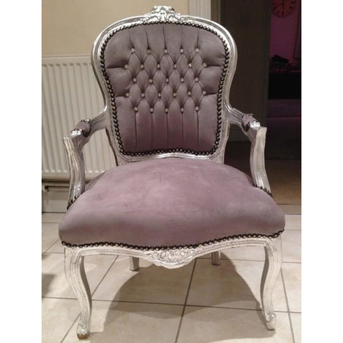 Grey diamante velvet french arm chair