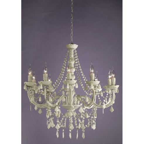 Shabby chic Marie Therese white acrylic chandelier 10 arm