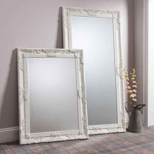 Cream french baroque floor leaner mirror - Hampshire