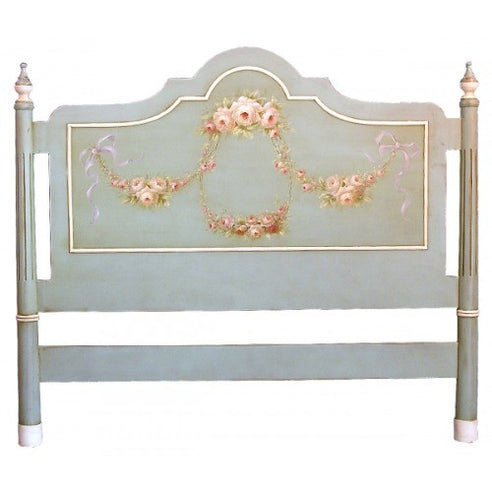 French rose blue double headboard