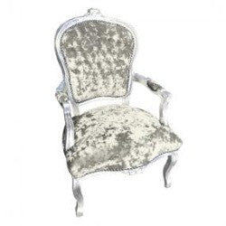 Light Green Diamante Crushed Velvet French 'Louis Style' Armchair with Silver Gilt Frame