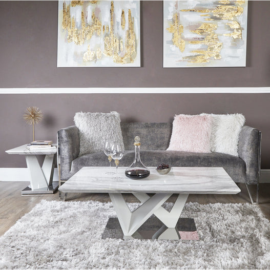 Amara Grey Marble and Chrome Coffee Table (120 x 65 x 44cm) - CLEARANCE