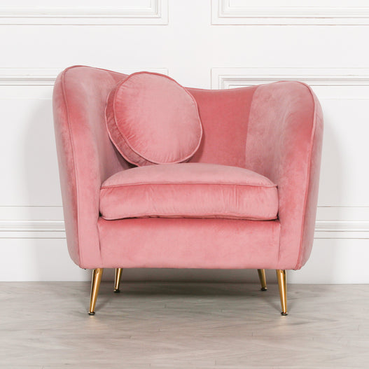 Pink Velvet Art Deco Arm Chair and Cushion