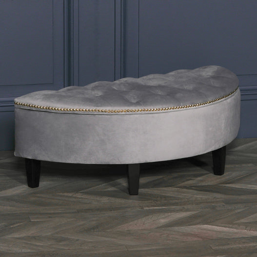 Grey Velvet Art Deco Dressing Room Half Moon Ottoman