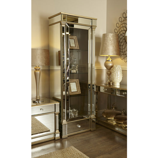 Athena Champagne Silver Mirrored Display Cabinet Right Door (68 x 50 x 200cm)