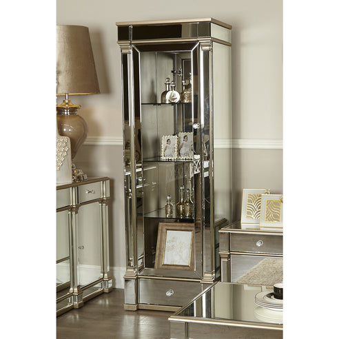 Athena Champagne Silver Mirrored Display Cabinet Left Door (68 x 50 x 200cm)