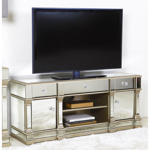 Athena Champagne Silver Mirrored TV Media Unit (130 x 50 x 56cm)