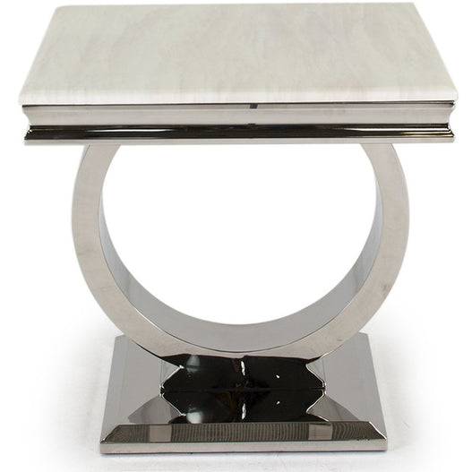 Vida Arianna Cream Marble Polished Stainless Steel Side Table (60 x 60 x 49.5cm)