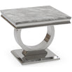 Vida Arianna Grey Marble Polished Stainless Steel Side Table (60 x 60 x 49.5cm)