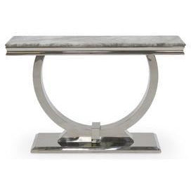 Vida Arianna Grey Marble Polished Stainless Steel Console Table (120 x 40 x 77cm)