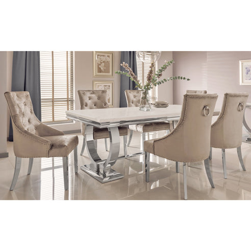Vida Arianna Cream Marble And Steel 200cm Dining Table with 8 Belvedere Champagne Chrome Leg Chairs