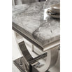 Vida Arianna Grey Marble Polished Stainless Steel 180cm Dining Table with 6 Knocker Back Grey Chairs