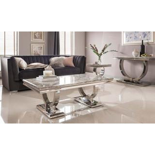 Vida Arianna Grey Marble Polished Stainless Steel Coffee Table (130 x 70 x 44.5cm)
