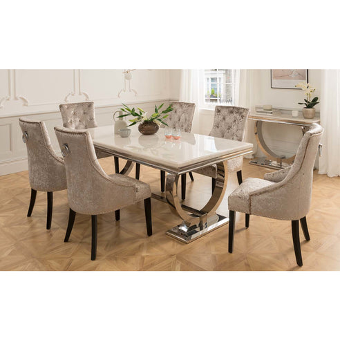 Vida Arianna Cream Marble Polished Stainless Steel Dining Table (200 x 100 x 77cm)