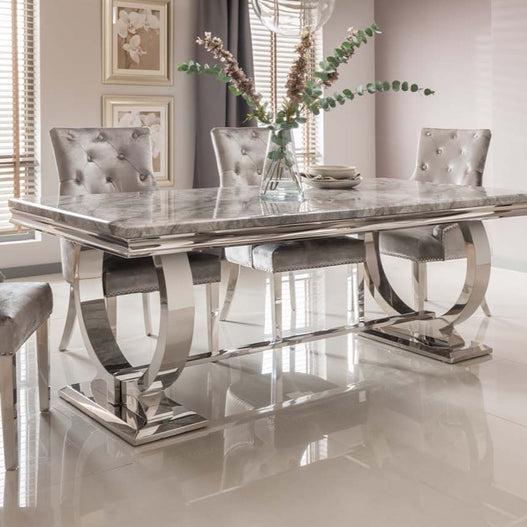 Vida Arianna Grey Marble Polished Stainless Steel Dining Table (180 x 100 x 75cm) - CLEARANCE