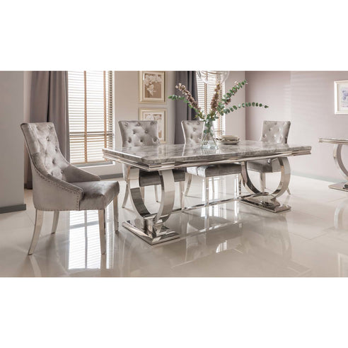 Vida Arianna Grey Marble Polished Stainless Steel 180cm Dining Table with 4 Knocker Back Grey Chairs
