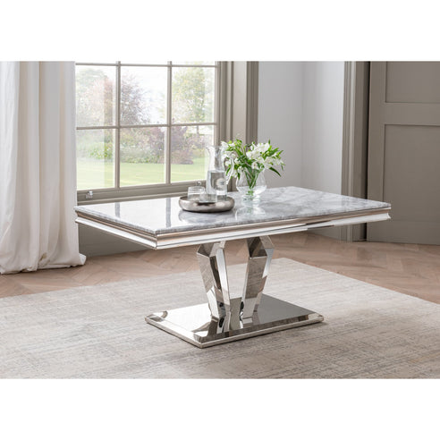 Vida Arturo Grey Marble Polished Steel Coffee Table