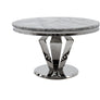 Vida Arturo Grey Marble And Steel 130cm Round Dining Table with 4 Belvedere Pewter Knockerback Chrome Leg Chairs