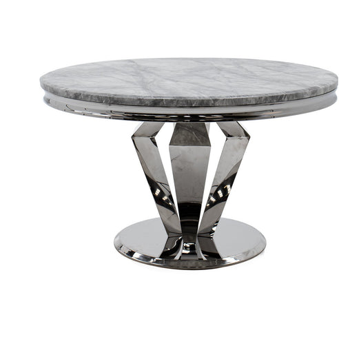 Vida Arturo Grey Marble And Steel 130cm Round Dining Table
