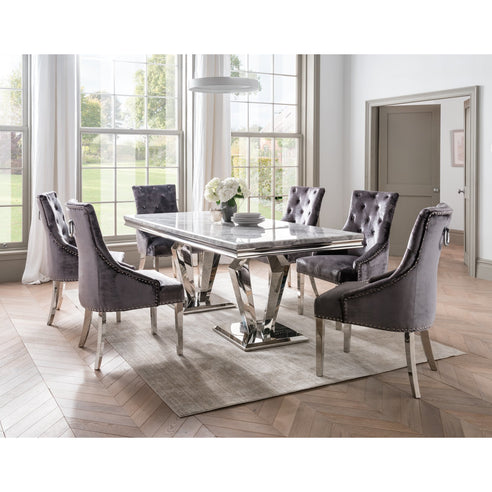 Vida Arturo Grey Marble And Steel 180cm Dining Table with 6 Belvedere Charcoal Grey Chrome Leg Chairs