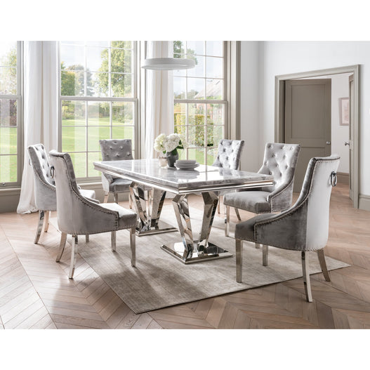 Vida Arturo Grey Marble And Steel 200cm Dining Table with 6 Belvedere Pewter Grey Chrome Leg Chairs