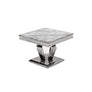 Vida Arturo Grey Marble Polished Steel Side Table