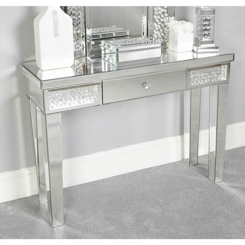 Art Deco Venetian Mirrored Savoy Floating Crystal Console Table (108 x 36 x 78cm)