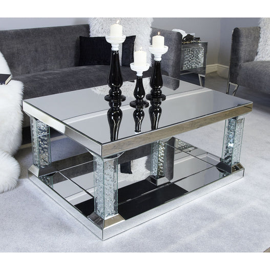 Art Deco Venetian Large Mirrored Savoy Coffee Table with Column Legs (110 x 80 x 51cm)