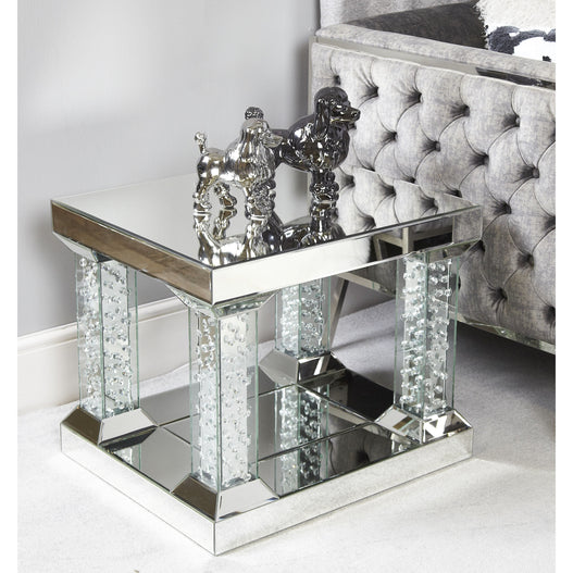 Art Deco Venetian Mirrored Savoy Floating Crystal 4 Pillar Side Table (61 x 51 x 51cm)