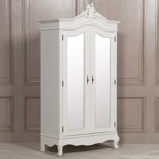 White Chateau French Rococo Mahogany Full Mirrored Armoire