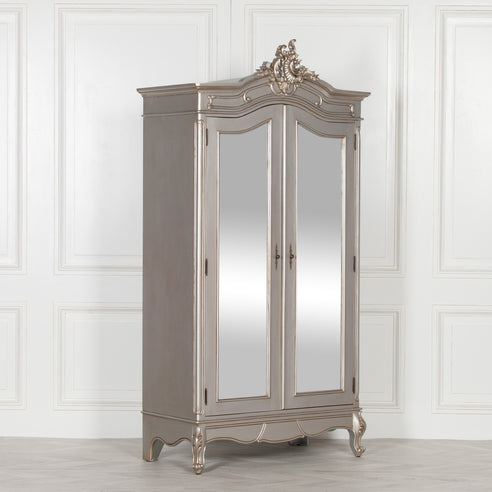 French Antique Silver Double Armoire with Mirrored Doors (110 x 50 x 215cm)
