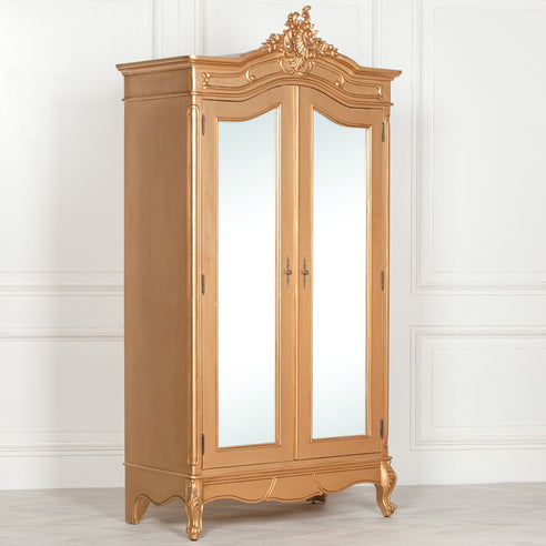 Antique Gold French Double mirrored Armoire (2 Doors, 110 x 53.5 x 214.5cm)