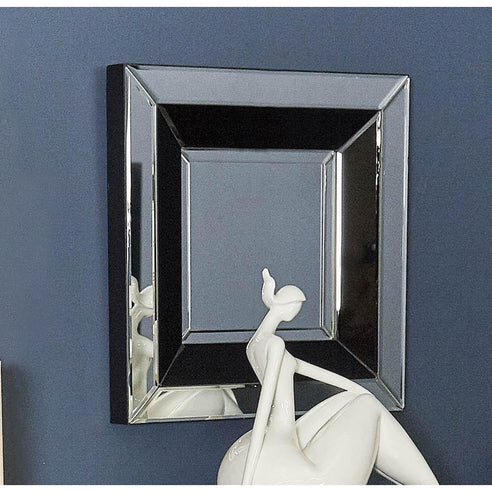 Black Metro Square Wall Mirror (50 x 50 x 5cm)- CLEARANCE