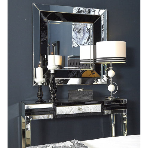 Black Metro Mirrored Drawer Console Table and Mirror Set -CLEARANCE