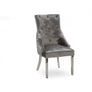 Belvedere Pewter Grey Knocker Back Chrome Leg Dining Chairs set of 4
