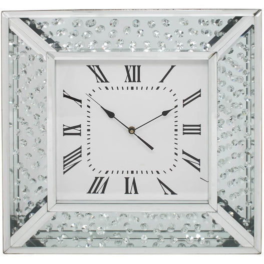 Mirrored Savoy Floating Crystal Square Wall Clock (50 x 5 x 50cm)