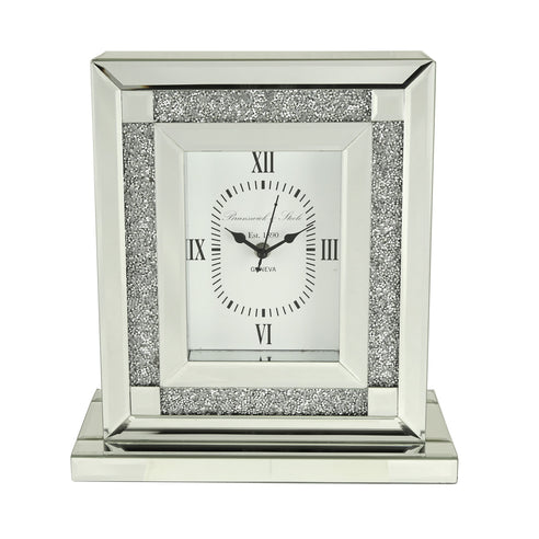 Turin Silver Mirrored Table Clock (30 x 12 x 33cm)