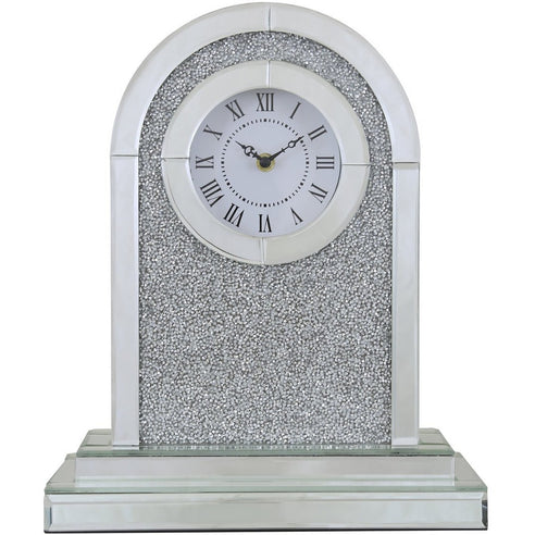 Turin Silver Mirrored Arch Table Clock (30.5 x 13 x 36.5cm)