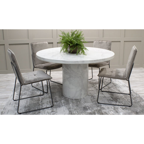 Vida Carra 130cm Round White Glossy Marble Dining Table and 4 Soren Mink Chairs
