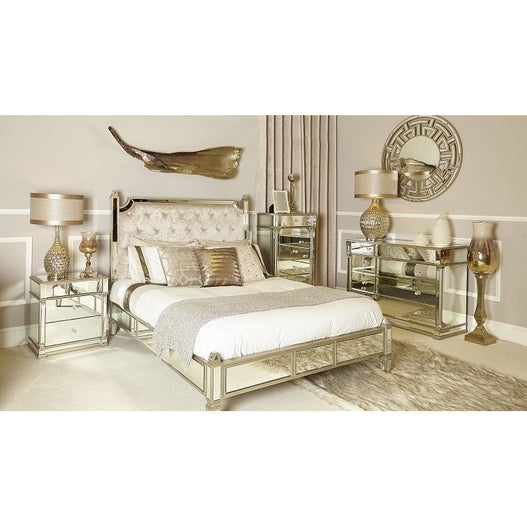 Athena Champagne Silver Mirrored Kingsize Bed (157 x 214 x 140cm)