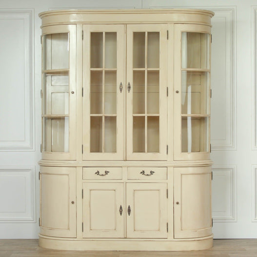 Empire Classical Vintage Cream Curved Display Cabinet