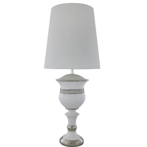 "White Metro Silhouette Table Lamp with 13"" White Shade (35 x 82cm)"