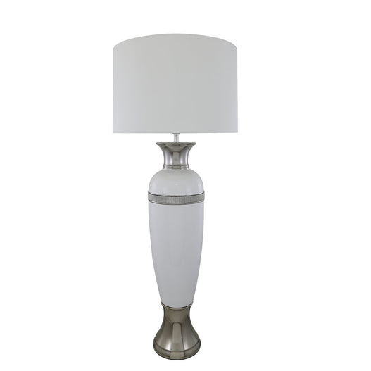 "White Metro Elongated Table Lamp with 18"" White Shade (46 x 111cm)"