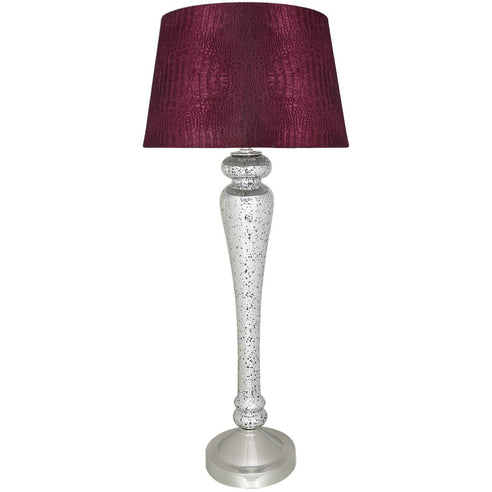 "Silver Mercury Lamp with 15"" Red Crocodile Empire Shade (38 x 87cm)"